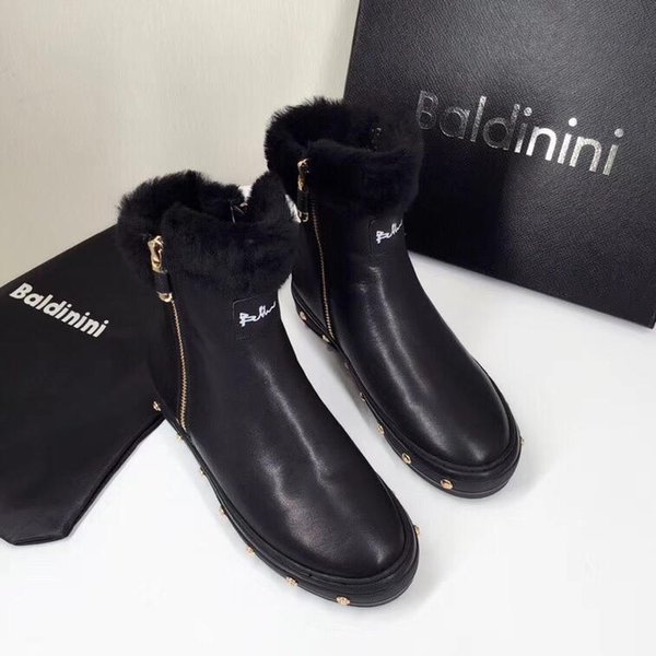 Italian luxury goods B@tinitni winter new snow boots zipper willow fur piece design versatile boots women's flat boots original box packagin