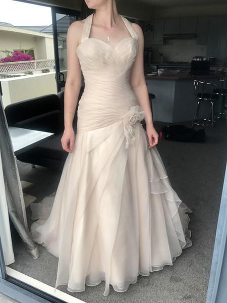 2019 ruffles organza plus size mermaid wedding dresses sexy halter pleats rushed flowers Champagne bridal dresses lace up corset gowns