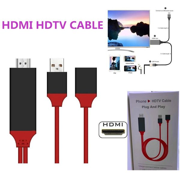 Universal HDMI Adapter Cable To HDTV 3 in 1 USB Cable Connector For Samsung Galaxy S8 Edge Note 5 iPhone 8 X LG G4 iPad Air2 With Retail Box