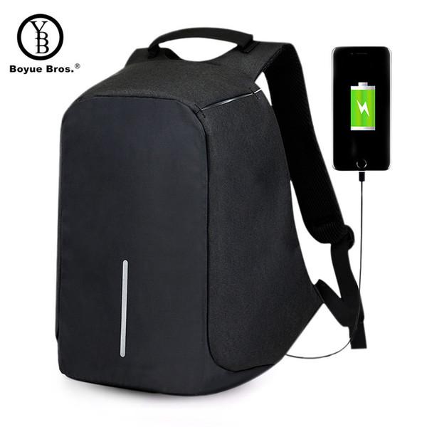 Boyue Bros. Carga USB Mochila antirrobo Hombres Seguridad de viaje Bolsas escolares impermeables Universidad Adolescente 15 pulgadas Mochila para portátil