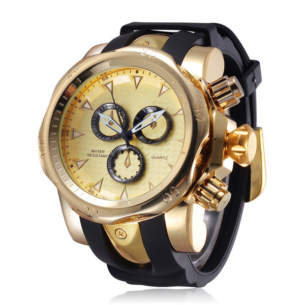 Famous Brand Big Dial Watch for Men Quartz Big Face Watches Rubber Band 52MM Rose Gold Men's Wristwatch Luxury Mens Relojios New Y1892111