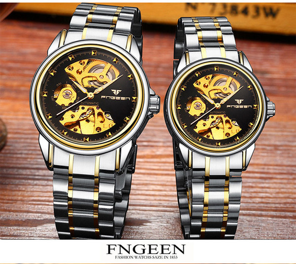 Finzun fully automatic mechanical watch, Korean version of business double-faced men's watch waterproof mechanical watch for free delivery.