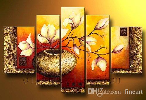 hand-painted oil wall modern art oil painting 5 piece painting abstrac flower wall art decorative painitng home décor unique gifts