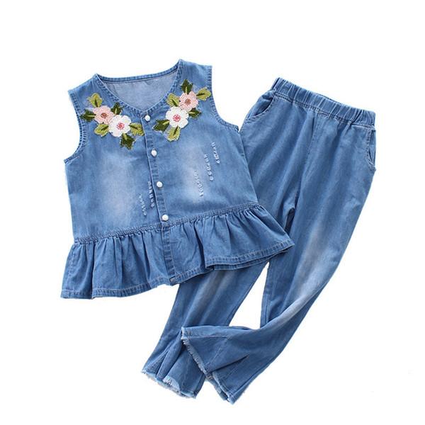 3-12 y été filles vêtements ensemble denim tenues ensembles de mode pour fille sans manches broderie top pantalon évasé enfants ensembles