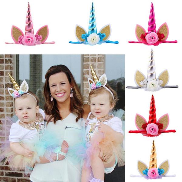Boynuzlu at Horn Hairband Çocuklar için Unicorn Kafa Partisi DIY Saç Aksesuarları Çiçek Cosplay Taç Bebek Kafa Kedi Kulaklar