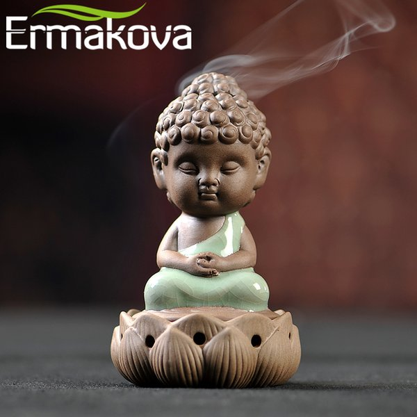 Ceramic Ermakova Ceramic Incense Burners Porcelain Buddha Monk Figurine Yoga Posture Tea Pet Succulent Plant Bonsai Garden Home Decor