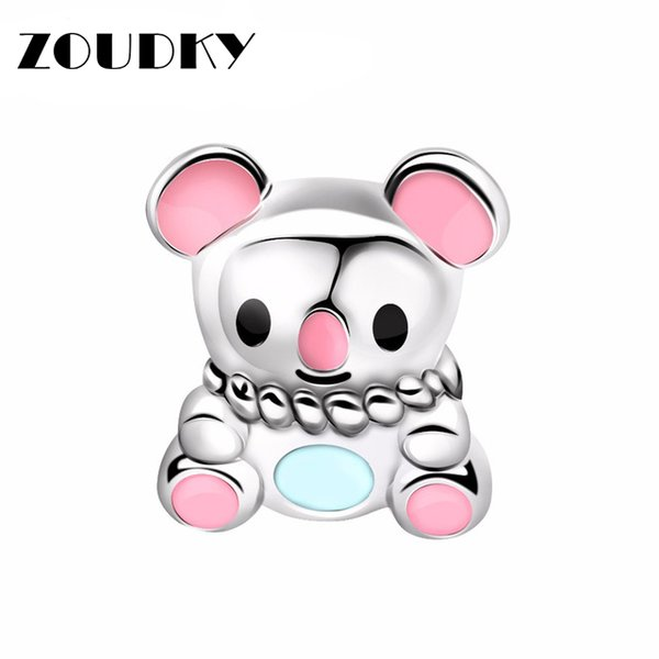ZOUDKY 100% 925 Sterling Silver Bead Charm Original design Jewelry New Cute Toys Bear Beaded DIY Bracelets Girls Gifts