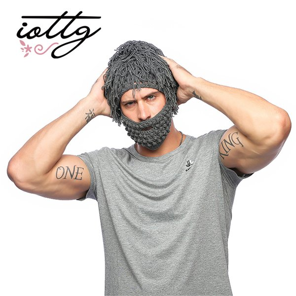 IOTTG Handmade Knitted Men Winter Crochet Mustache Hat Beard Beanies Face Tassel Bicycle Mask Ski Warm Cap Funny Hats