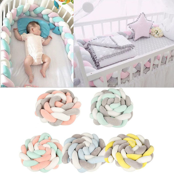 top popular 2M Baby Bed Bumper Knot Design Infant Plush Crib Pad Protection Cot Bumper Baby Kids Bedroom Decor Bedding Accessories For Baby 2021