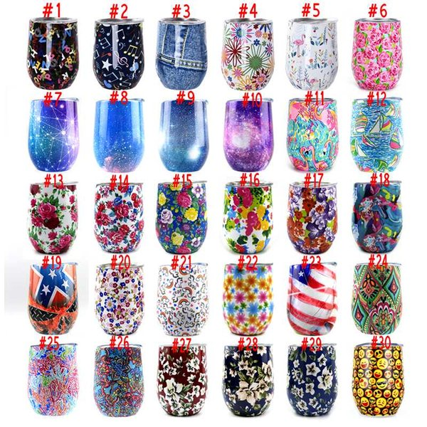 12oz Egg Shaped Cups Stemless Wine Glass Stainless Steel Tumblers Water bottle Rose Flamingo galaxy Print Coffee Mugs With lid