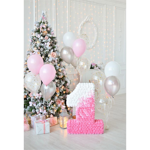 Baby Girl's 1st Birthday Photo Backdrop Printed Balloons Present Boxes Decorated Christmas Tree Kids Party Booth Background