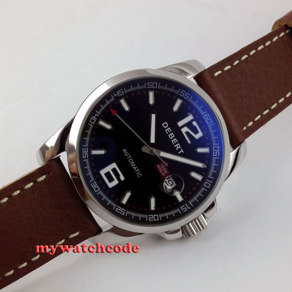 44mm Debert black dial date window automatic movement mens wrist watch D10
