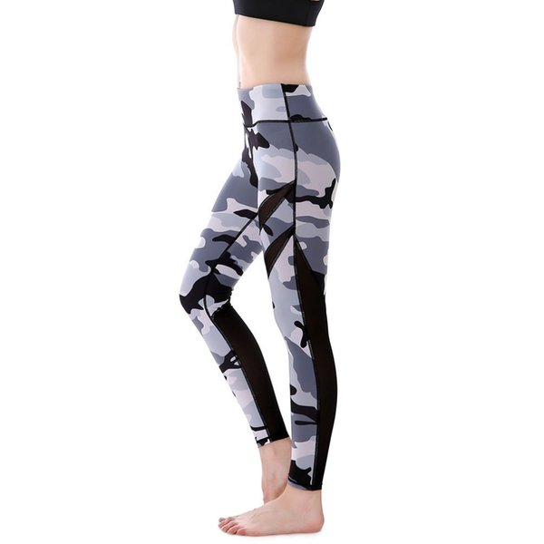 Pottis Gray Camouflage printed Women Leggings Mesh Dispatch Pants Push Up Fitness Leggings Quick Dry Elastic Plus Size Yoga Pants