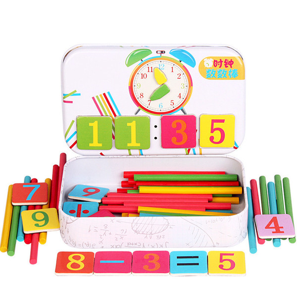 Wooden Math Number Stick Magnetic Mathematics Puzzle Niños Baby Education Calcular Juego Aprendizaje Contando Toy Gifts With Box
