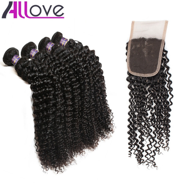 Allove Wholesale 10A Brazilian Human Hair Kinky Curly 4bundles with Lace Closure Malaysian Weaves Peruvian Hair Extensions Indian Human Hair