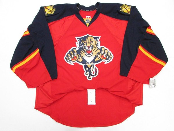 Günstige Benutzerdefinierte FLORIDA PANTHERS RED HOME TEAM ISSUED KANTE JERSEY GOALIE CUT 60 Herren genäht personalisierte Hockey Trikots