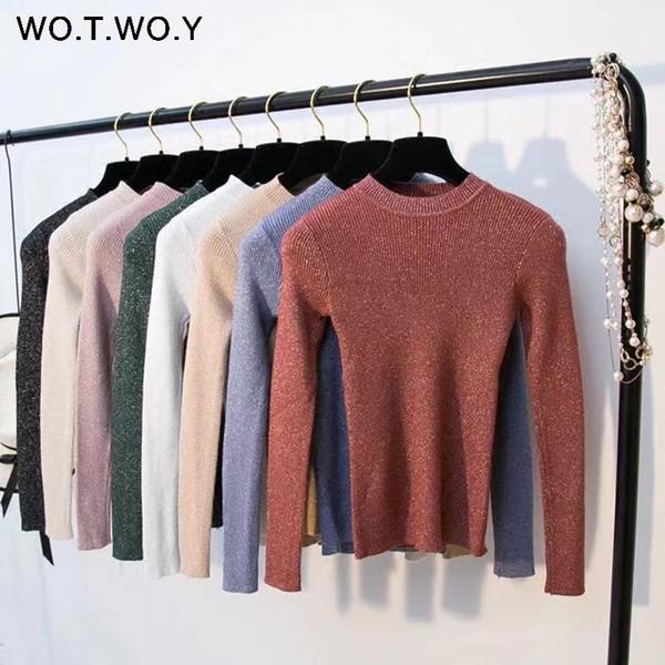 Shiny Lurex Autumn Winter Sweater Women Long Sleeve Pullover Women Basic Sweaters Women 2018 Korean Style Knit Tops Femme