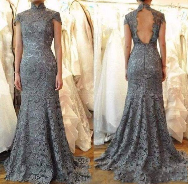 Chinese Style Mermaid Mother Of The Bride Dresses Sweep Train Lace Appliques Short Sleeve Backless Formal Mother Dresses Evening Dresses