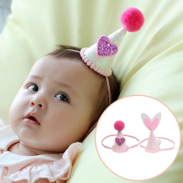 Bande 12Pcs dolce cuore di coniglio Orecchie stereoscopico Hat le fasce elastiche dei capelli del bambino bambini festa di compleanno Headwear Bella Huilin BH40