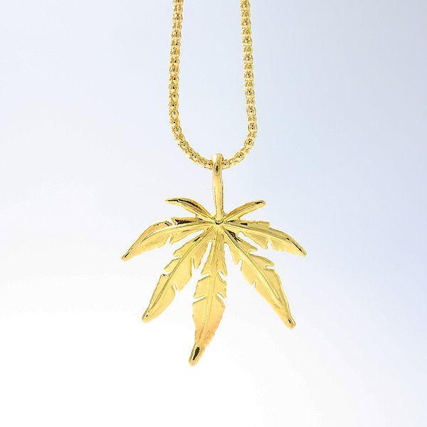 2018 New Gold-color Leaf Charm Necklace Maple Leaf Pendant Necklace Hip Hop Jewelry Wholesale