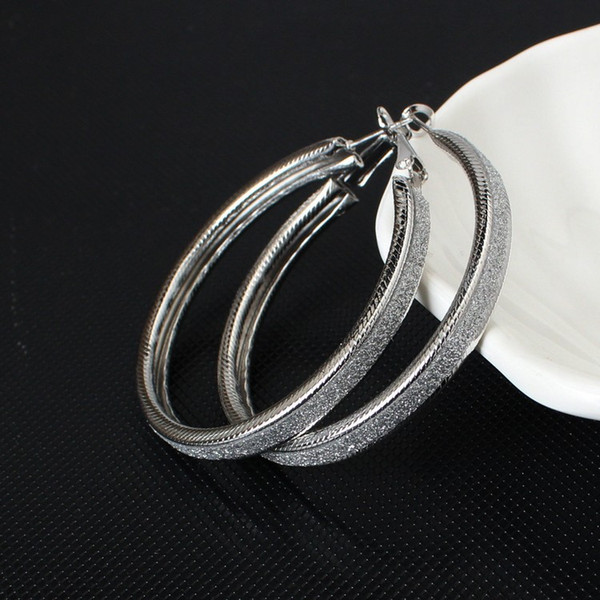 American Retro Earrings Ear Frosted Hoop Charm Chic Fashion Jewerly Accessories Ear ring Elegant Round Hot
