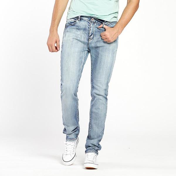 Mens Jeans Trendy Stretch Blue Grey Denim Men Slim Fit Jeans Trousers Pants Size 30 32 34 35 36 38 40 42 44