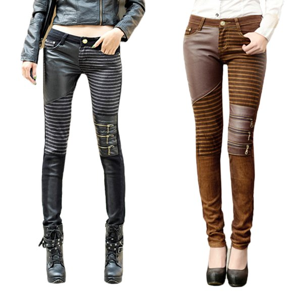 Moda Kadın PU Deri Patchwork Kot Pantolon Fermuarlar Çizmeler Pantolon Uzun Kalem Pantolon Kahverengi Siyah Pantolon KH861434