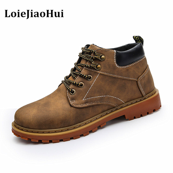 LOIEJIAOHUI New Fashion Men Casual Leather Boots Winter Warm Flats Brogues Oxford Shoes Outdoor Work Snow Ankle Boots