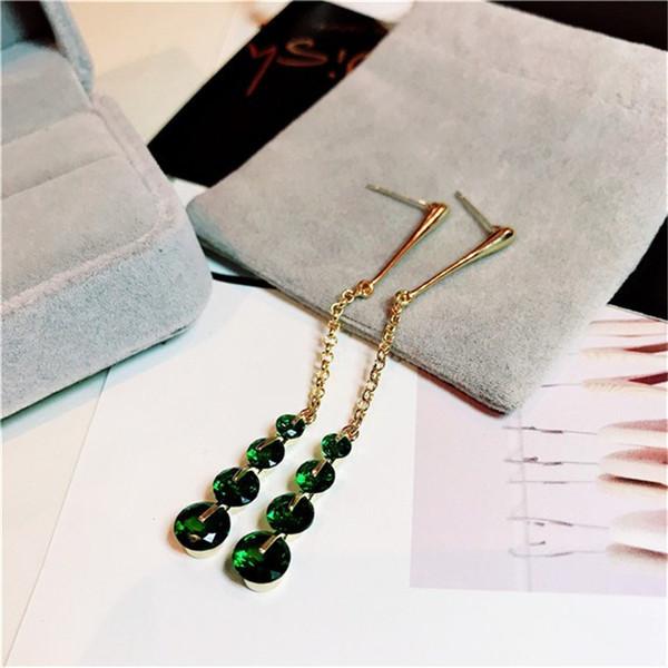 Vintage Drop Earrings For Women S925 Sterling Silver Emerald Long Earring Green Gemstone Fine Jewelry Elegant Lady Brincos