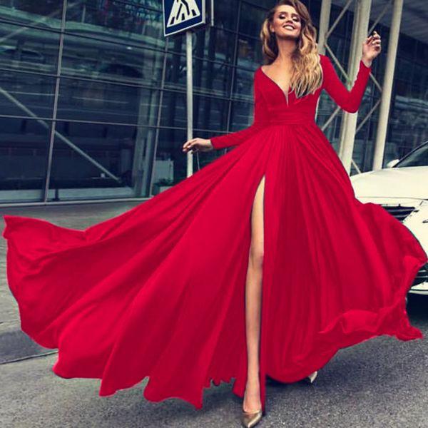Compre Dower Me Elegante Vestido De Fiesta Nocturno Profundo Escote En V Manga Larga Dividido Vestidos Rojos Otoño Sexy Una Línea Negro Vestidos Maxi