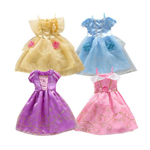 Girls Costume Party Dresses Puff Sleeve Dress up Costume Sleeping Beauty Princess Dress 4 Designs PX-D04