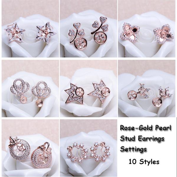 best selling 10 Styles Pearl Earring Setting Zircon Solid Rose Gold Earrings Setting Pearl Stud Earring Mounting Earring Blank DIY Jewelry DIY Gift