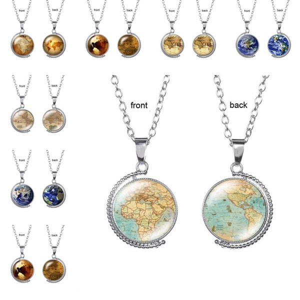 Vintage Rotating glass Globe Necklaces Planet World Map Necklace Art Face Glass Round Dome Earth map Pendant Necklace