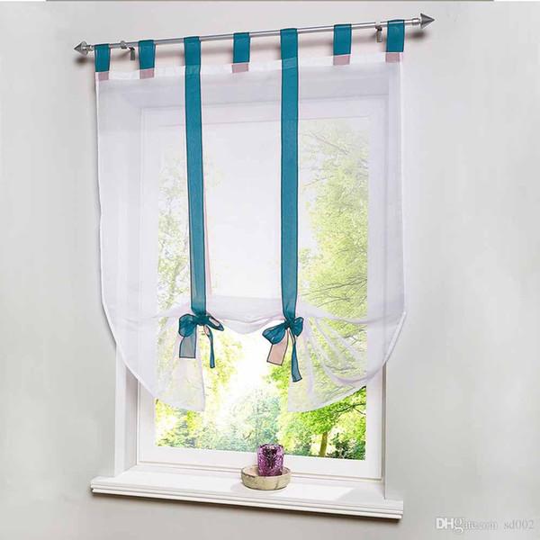 Großhandel Transparente Gardinen Mit Bowknot Schöne Fenster Vorhang Gaze  Polyester Fiber Roman Vorhänge Home Badezimmer Decor 27 5ts Ii Von Sd003,  ...