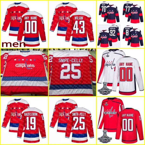 cheap for discount 58e51 9b44d 2018 Men'S 2019 Washington Capitals 19 Nicklas Backstrom 8 Alex Ovechkin 43  Tom Wilson 77 T.J. Oshie Authentic Red White Jersey Stitched From ...