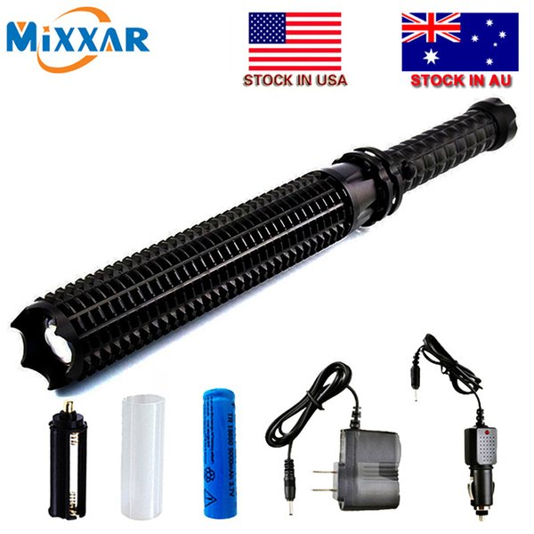 Powerful 4500LM LED Flashlight 18650 Battery L2 Telescopic Self Defense LED Rechargeable Torch Flash Light Stock in US