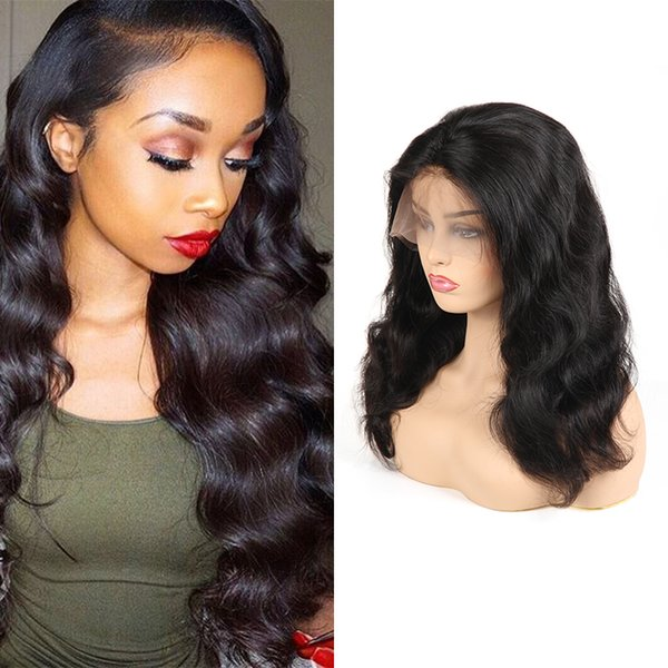 Cheap Brazilian Virgin Human Hair Lace Front Wigs Body Wave 100% Unprocessed Wigs For Black Woman Average Size Long Inch Wig Caps