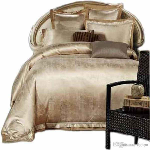 Wholesale-Gold/White/Blue Jacquard Silk Bedding Set Luxury 4pcs Satin Bed Set Duvet Cover King Queen Bedclothes Bed Linen Sets 16 Design