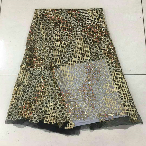 Luxury african lace fabric high quality french guipure lace fabric 2018 new arrival sequins lace fabric for party H352-1