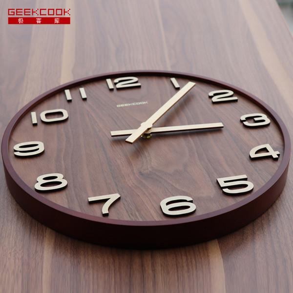 Großhandel Geekcook Wanduhr Holz 14 \'\' 12 \'\' Holz Wanduhr Qualität Groß  Keine Reflexion Studie Wohnzimmer Vintage Retro Von Hibooth, $56.88 Auf ...