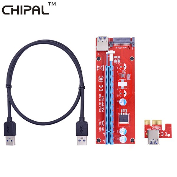 CHIPAL 10pcs VER007S 0.6M PCI-E 1X to 16X Riser Card PCI Express Extender +USB 3.0 Cable / SATA Power Interface for BTC Miner