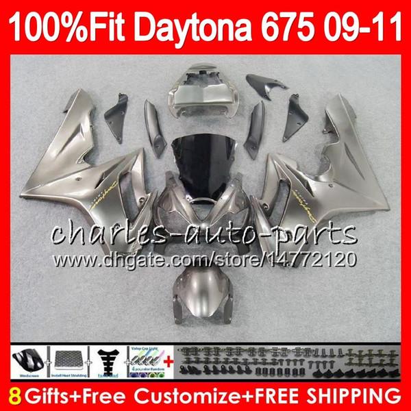 Injection For Triumph Daytona 675 09 10 11 12 Bodywork 107HM.27 Daytona-675 Silvery grey Daytona675 Daytona 675 2009 2010 2011 2012 Fairing