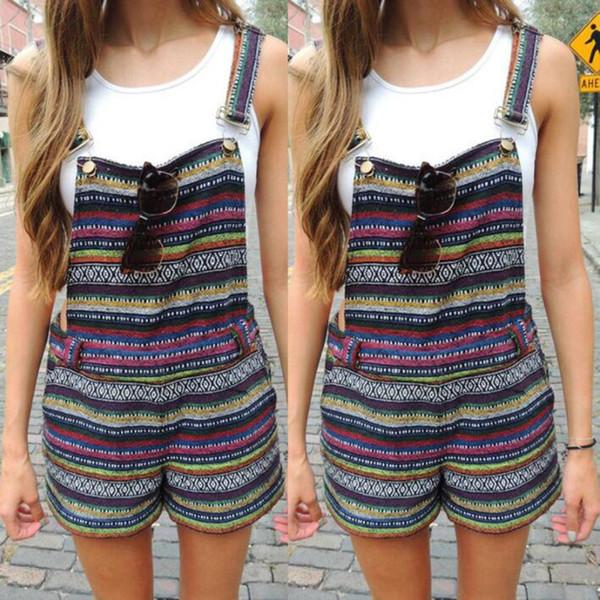 Vintage Rompers Kadınlar Tulumlar Yeni Retro Renk Desen Önlüğü Tulum Straplez Pantolon Tulum Jartiyer Kısa Pantolon