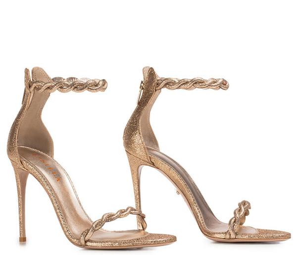 sandalen damen gold glitzer