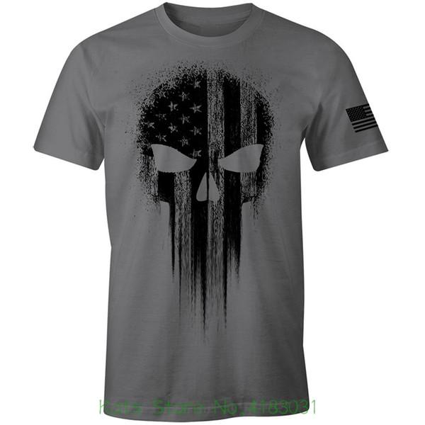 Usa Military American Flag Black Skull Patriotic Men's T Shirt Tee Shirt Short Sleeve Tops