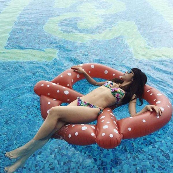 Inflatable Pretzel Pool Floats Inflatable Air Mattress Swim Ring Buoy Kickboard Water Boat Donut Pool Swimming Floats