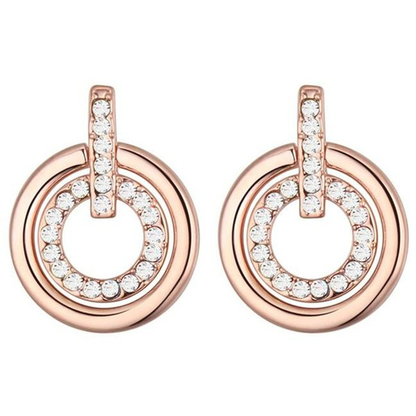 High Quality Stud Earrings Austrian Crystal Women Jewelry Banquet Party Accessories Valentine's Day Gift Rose Gold Plated 20392