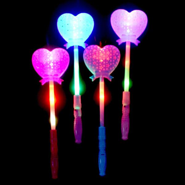 Novelty Heart-shaped led light toys Magic Wand led lighting toys flashing glowing Light Up Wands Luminous color random