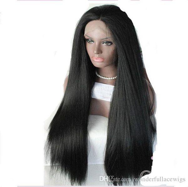 Peluca delantera de encaje sintético Yaki recto Parte lateral Sedoso Resistente al calor Peinado natural Frente de encaje de las mujeres negras Monofilamento