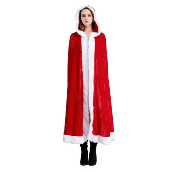 Christmas Cape Xmas Cloak Mrs. Santa Claus Hooded Robe Cloak Cosplay Costume for Party Size - M